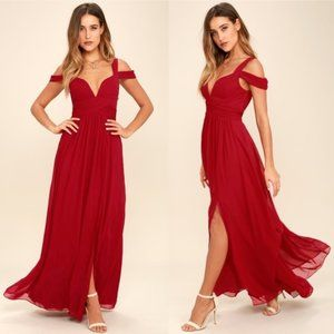 Lulus x Bariano Ocean of Elegance Wine Red Gown S